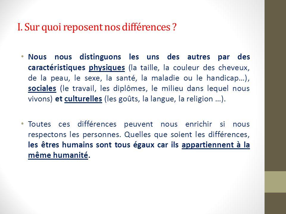 I. Sur quoi reposent nos différences