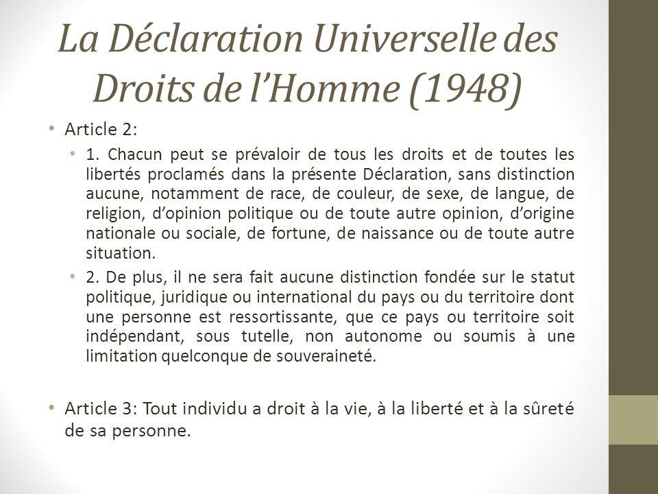 La Déclaration Universelle des Droits de l'Homme (1948)