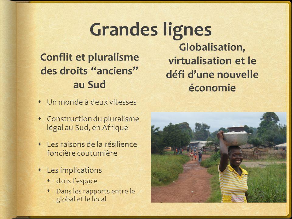 Grandes lignes Conflit et pluralisme des droits anciens au Sud. Globalisation, virtualisation et le défi d'une nouvelle économie.