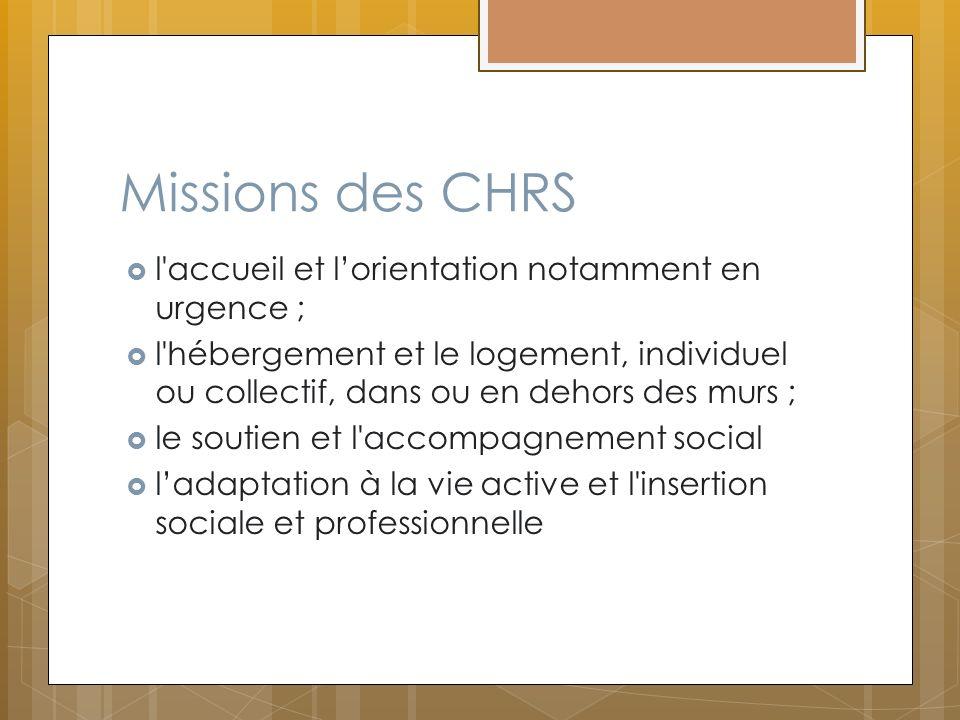 Missions des CHRS l accueil et l'orientation notamment en urgence ;