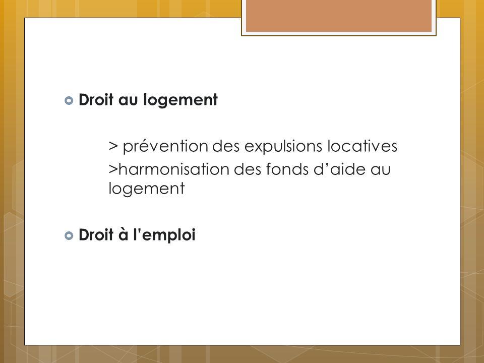 Droit au logement > prévention des expulsions locatives. >harmonisation des fonds d'aide au logement.