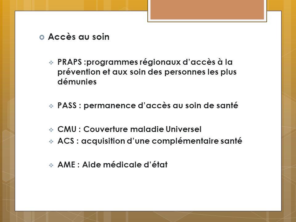 Accès au soin PRAPS :programmes régionaux d'accès à la prévention et aux soin des personnes les plus démunies.