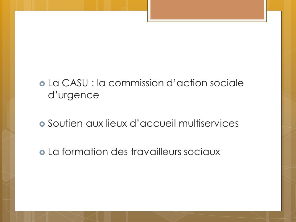 La CASU : la commission d'action sociale d'urgence