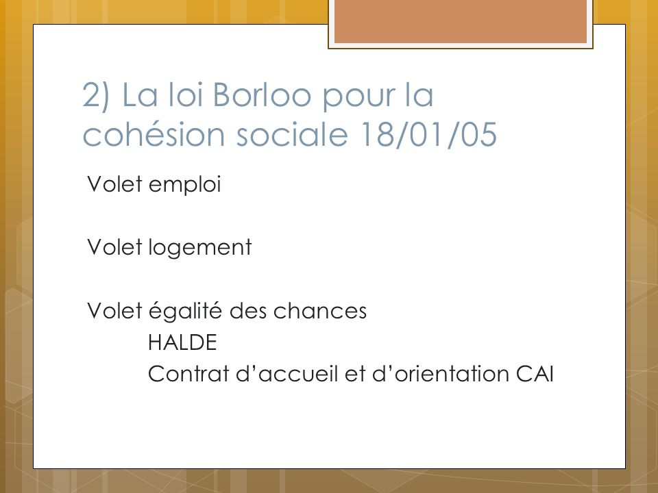 2) La loi Borloo pour la cohésion sociale 18/01/05