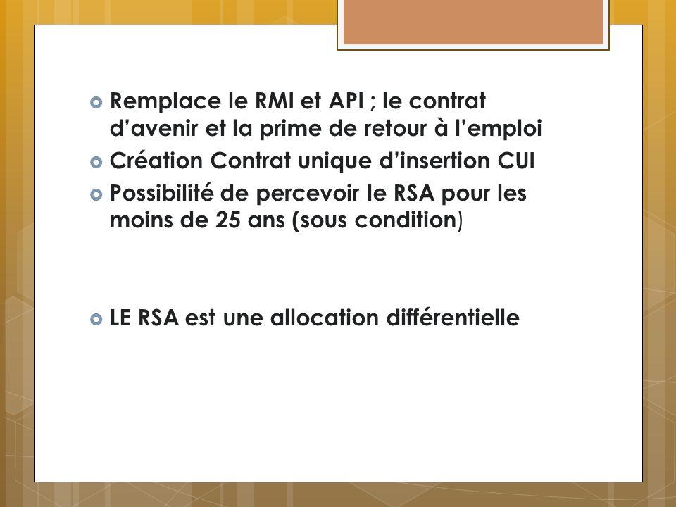 Remplace le RMI et API ; le contrat d'avenir et la prime de retour à l'emploi