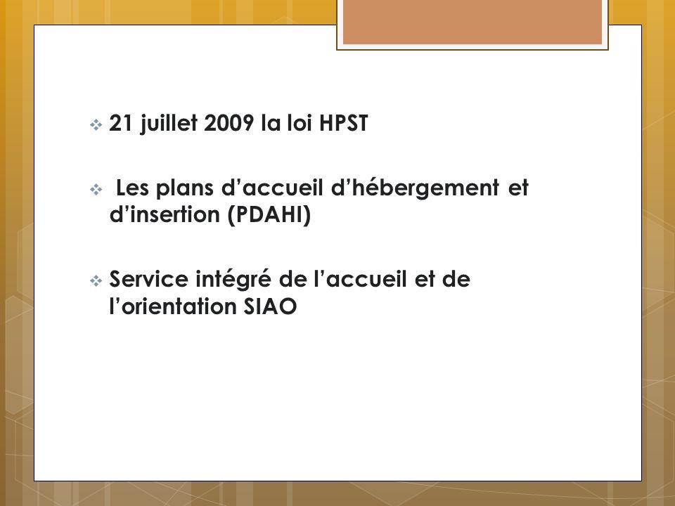 21 juillet 2009 la loi HPST Les plans d'accueil d'hébergement et d'insertion (PDAHI) Service intégré de l'accueil et de l'orientation SIAO.