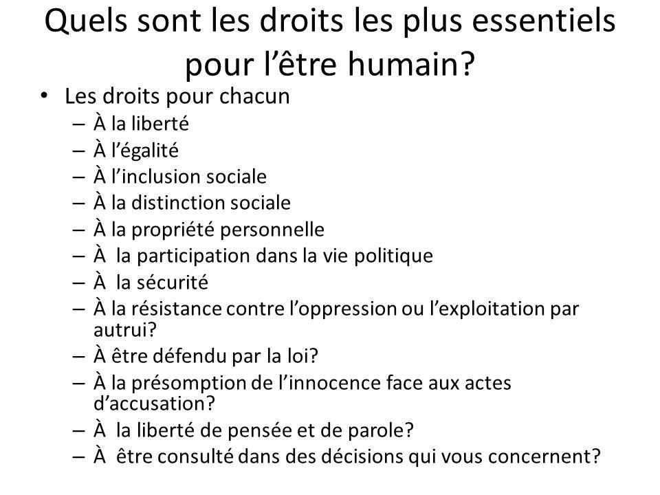 Quels sont les droits les plus essentiels pour l'être humain