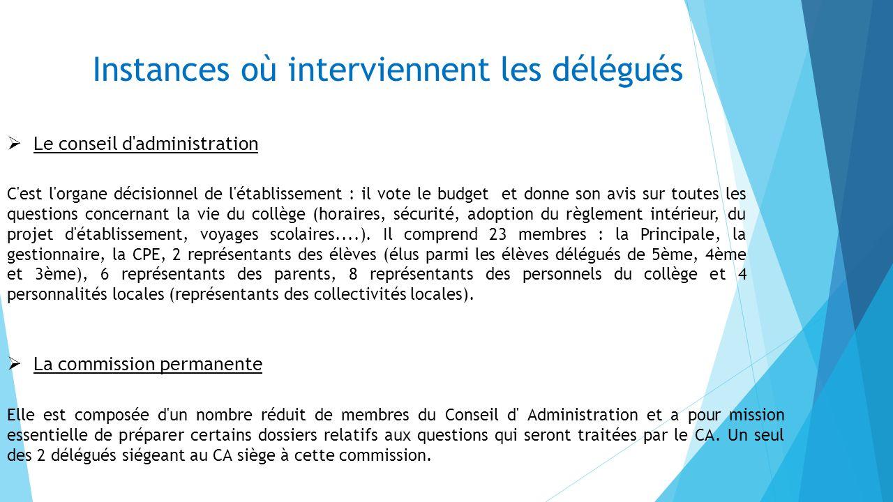 Instances où interviennent les délégués