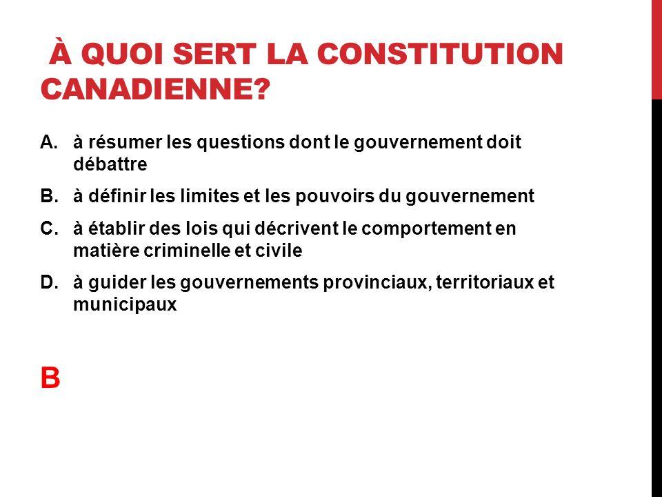 À quoi sert la constitution canadienne