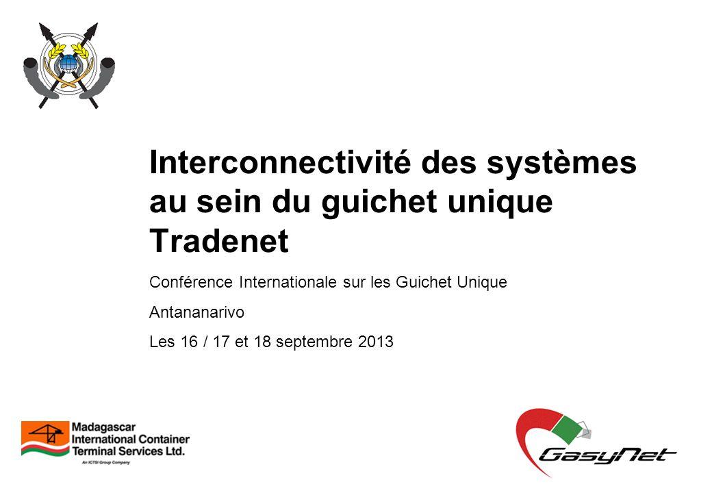 Interconnectivité des systèmes au sein du guichet unique Tradenet