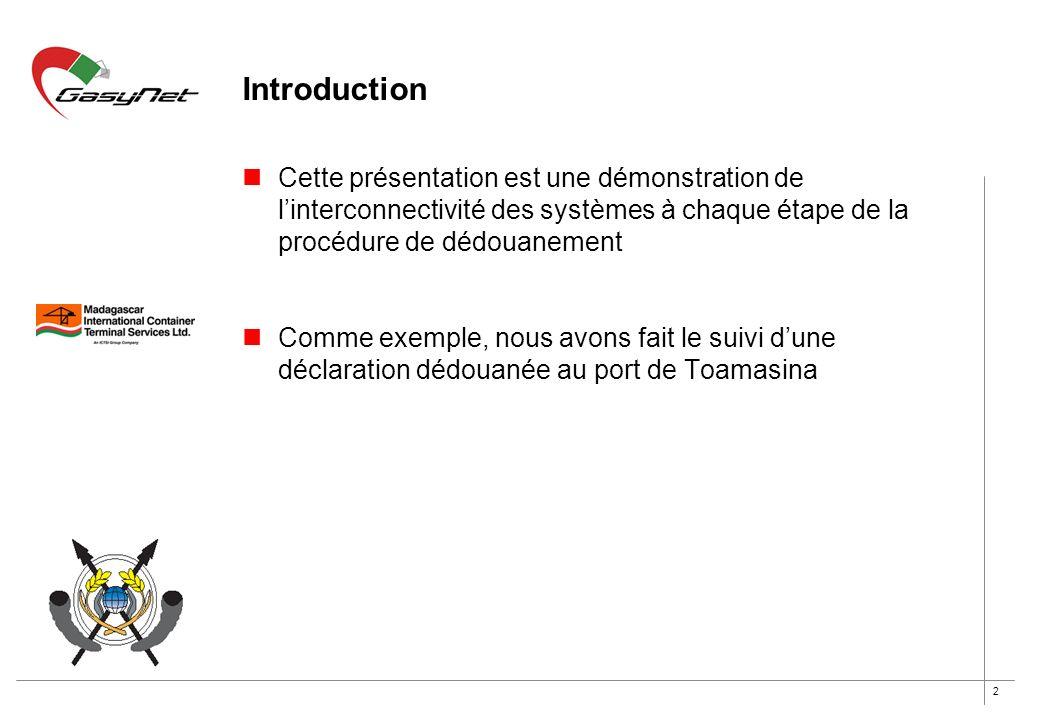 Introduction Cette présentation est une démonstration de l'interconnectivité des systèmes à chaque étape de la procédure de dédouanement.