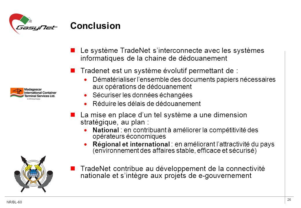 Conclusion Le système TradeNet s'interconnecte avec les systèmes informatiques de la chaine de dédouanement.
