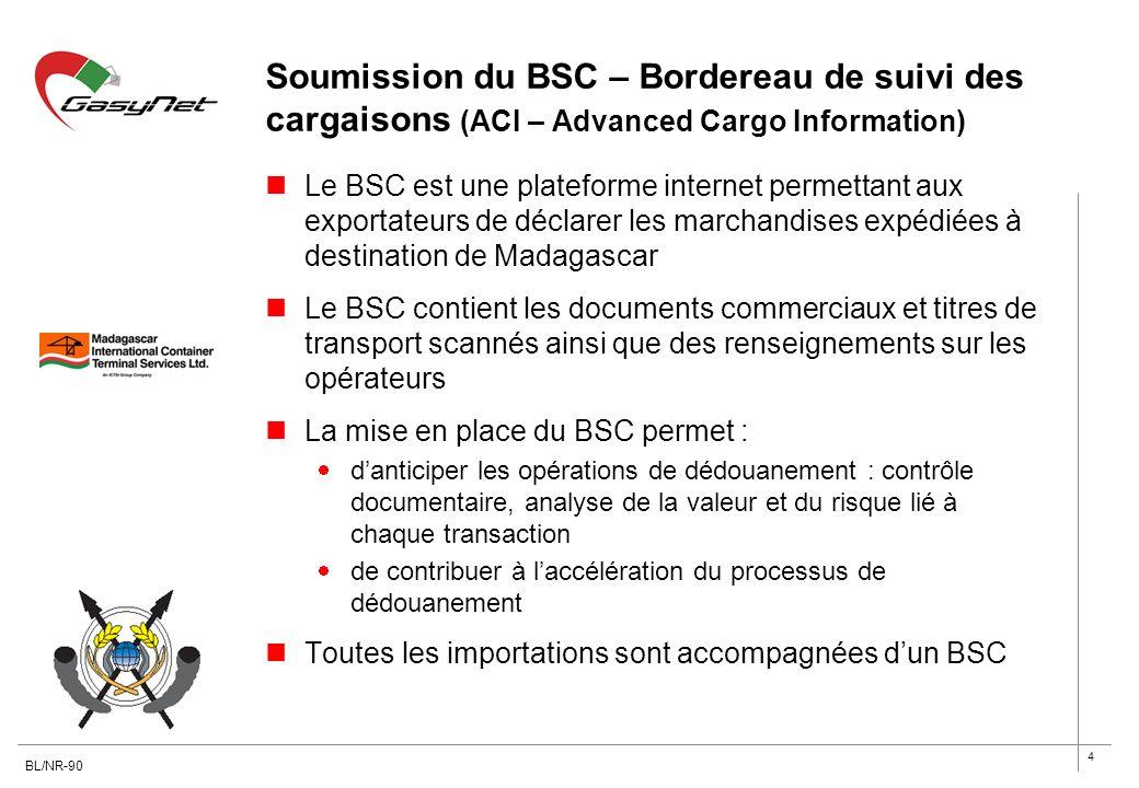 Soumission du BSC – Bordereau de suivi des cargaisons (ACI – Advanced Cargo Information)