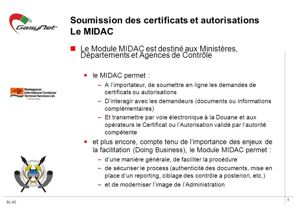 Soumission des certificats et autorisations Le MIDAC