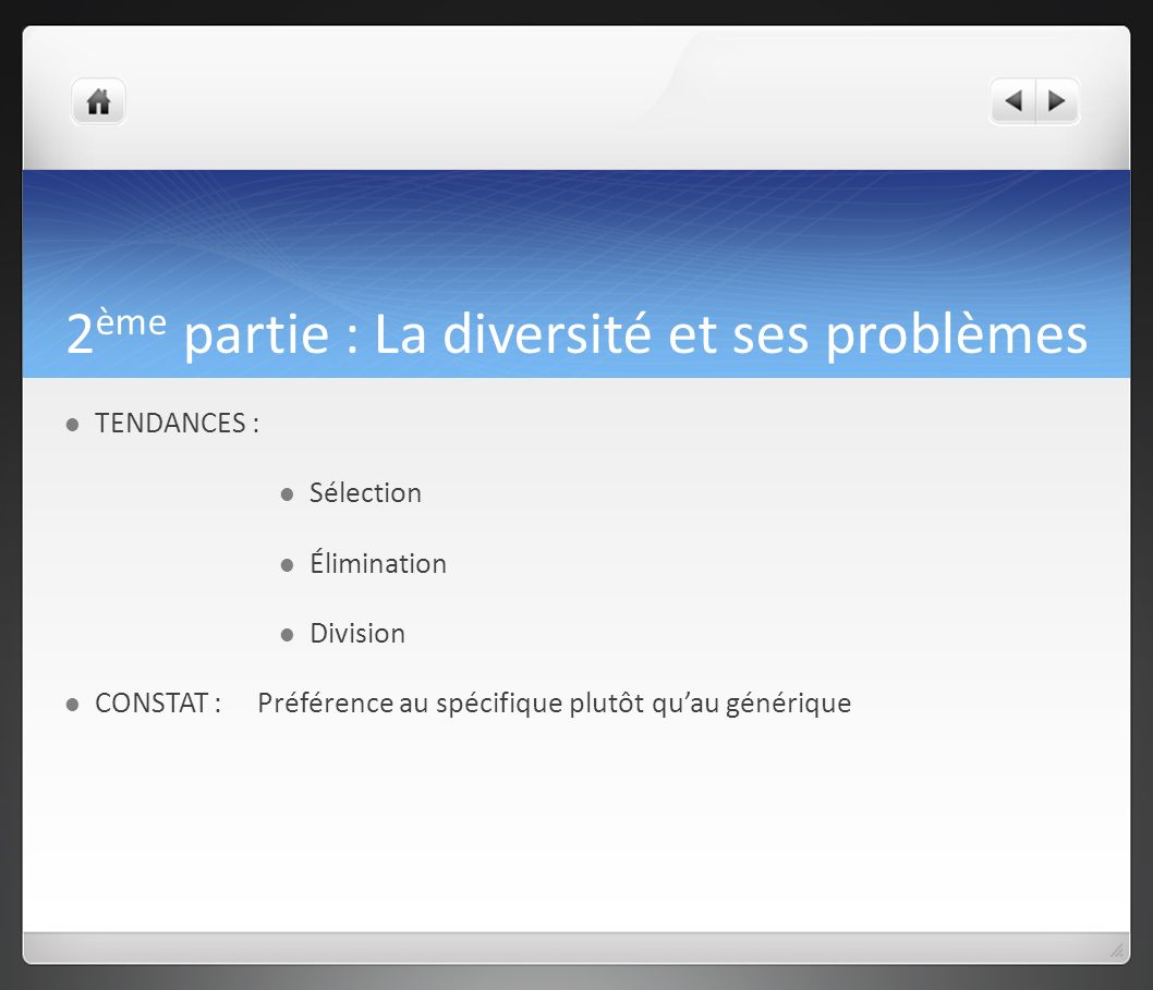 2ème partie : La diversité et ses problèmes