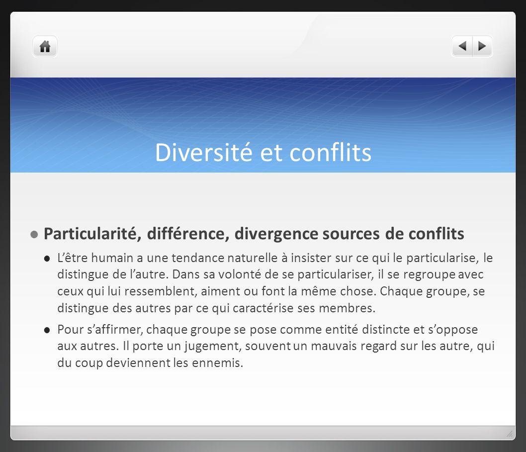 Diversité et conflits Particularité, différence, divergence sources de conflits.