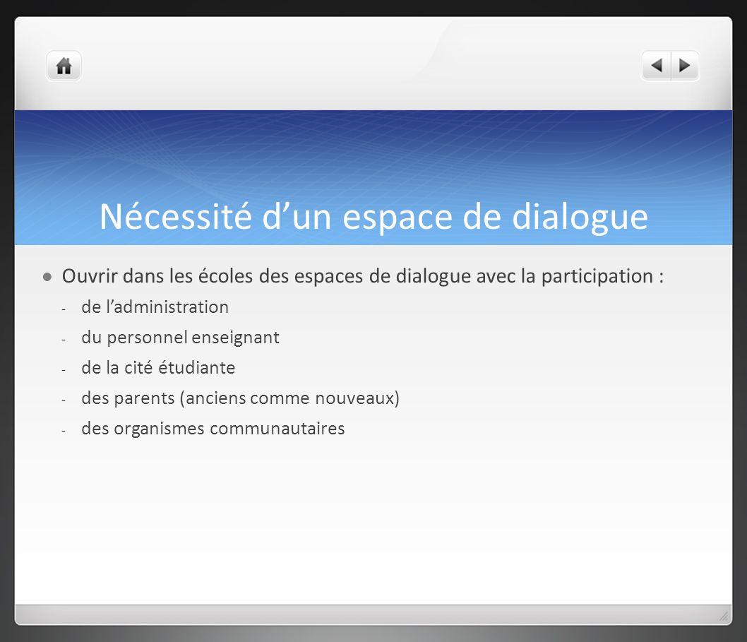 Nécessité d'un espace de dialogue