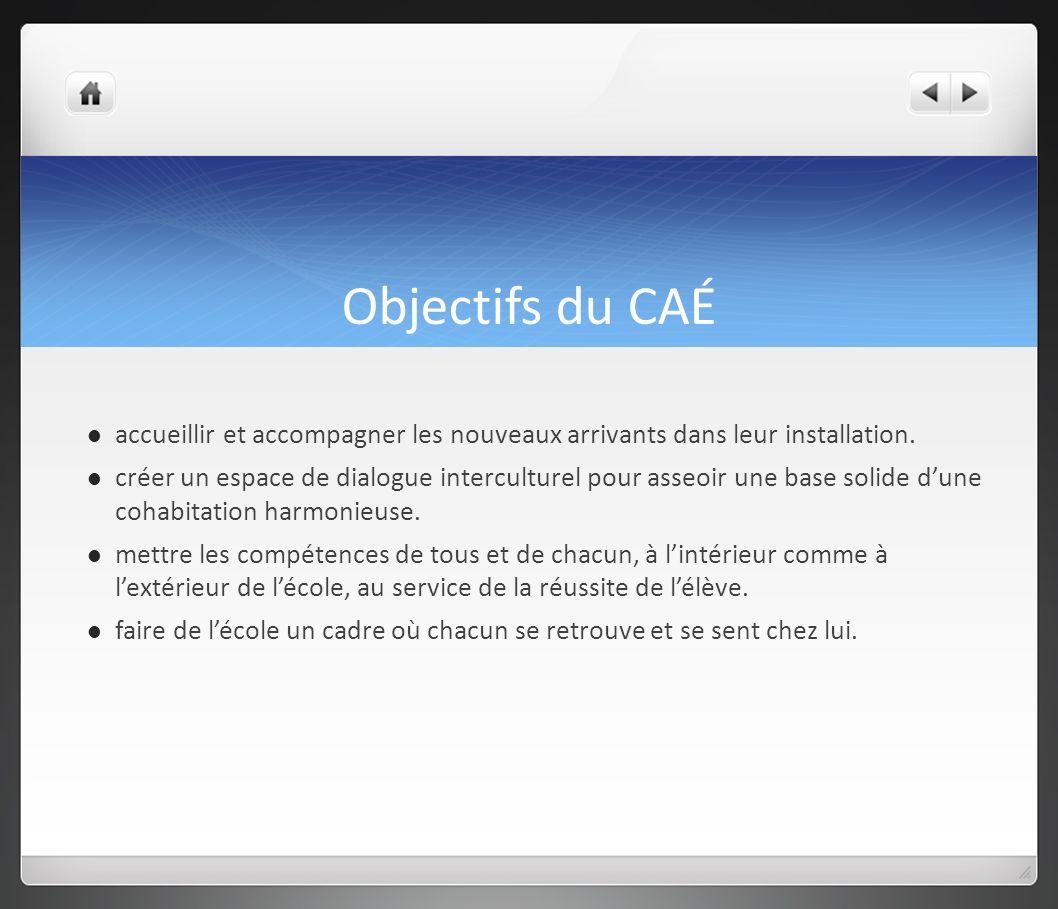 Objectifs du CAÉ accueillir et accompagner les nouveaux arrivants dans leur installation.
