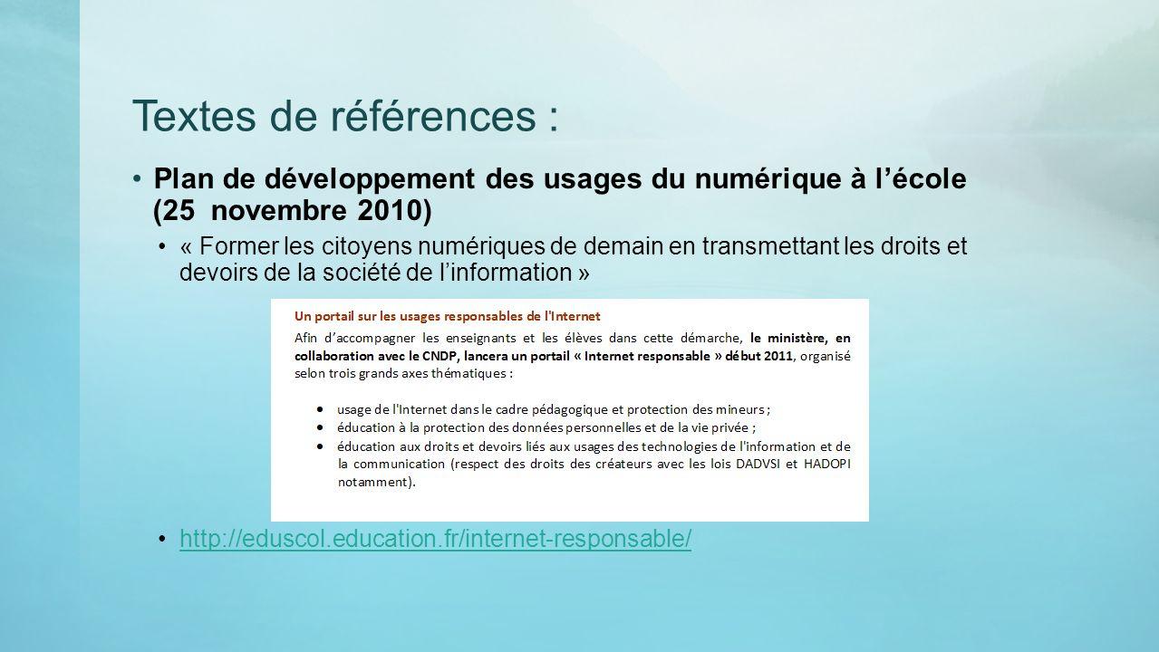 Textes de références : Plan de développement des usages du numérique à l'école (25 novembre 2010)