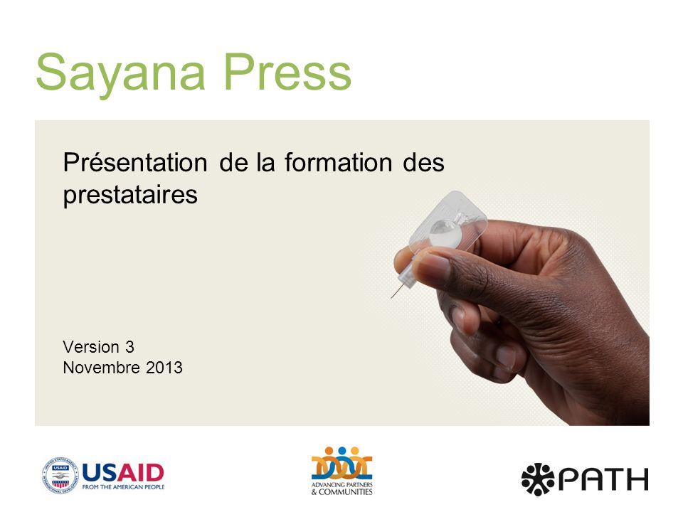 Sayana Press Présentation de la formation des prestataires Version 3
