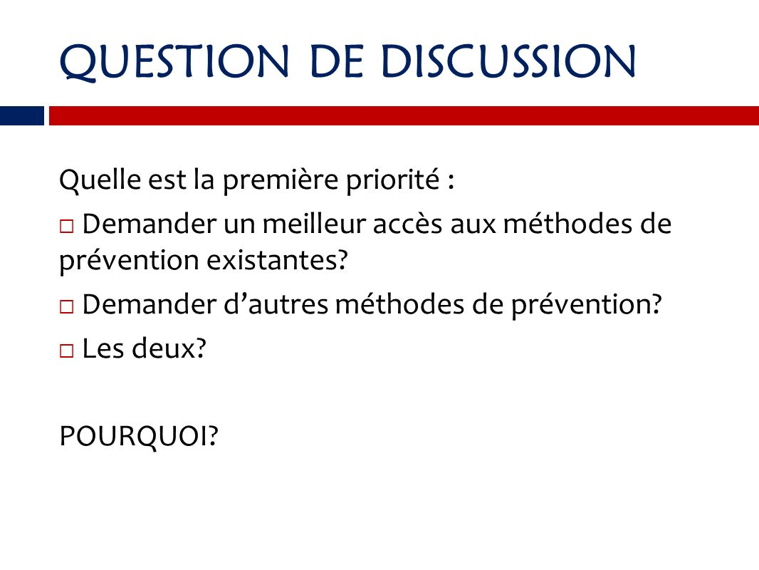 QUESTION DE DISCUSSION