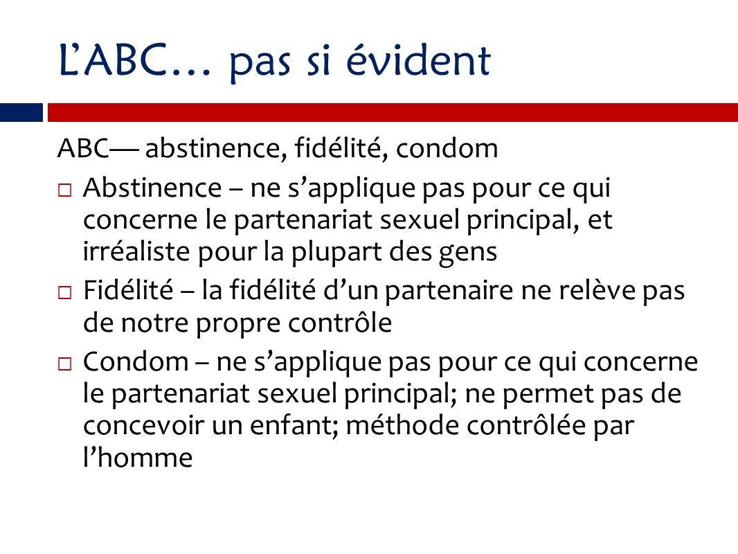 L'ABC… pas si évident ABC— abstinence, fidélité, condom