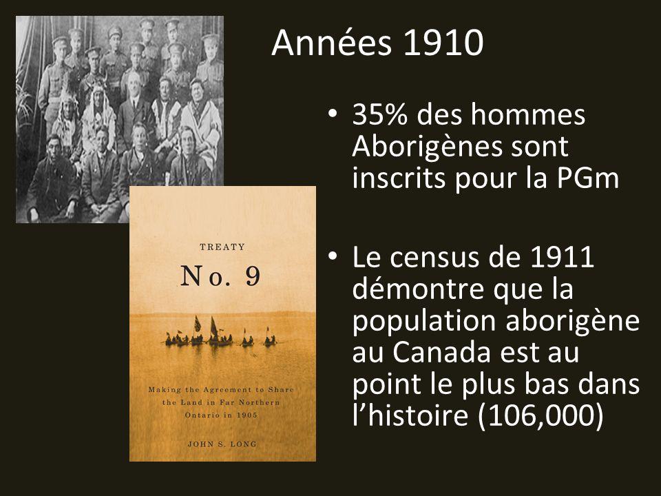 Années 1910 35% des hommes Aborigènes sont inscrits pour la PGm