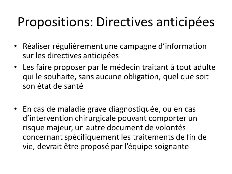 Propositions: Directives anticipées