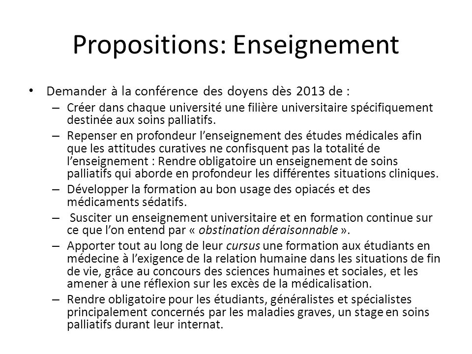 Propositions: Enseignement