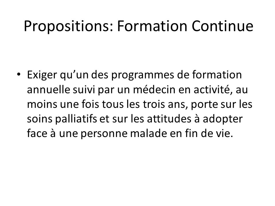 Propositions: Formation Continue