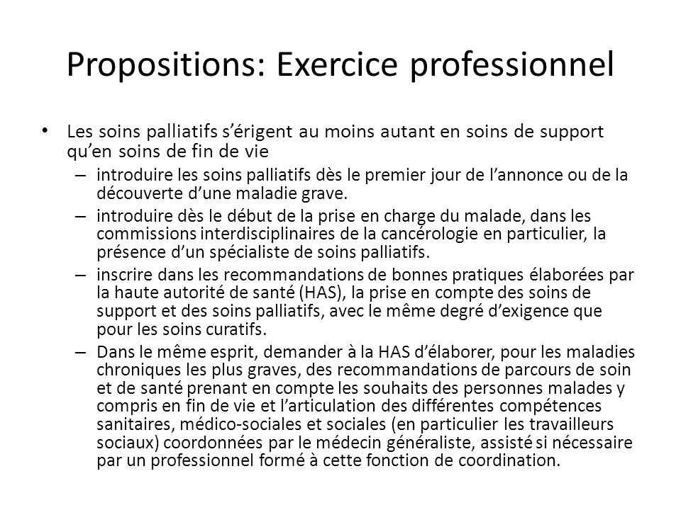 Propositions: Exercice professionnel