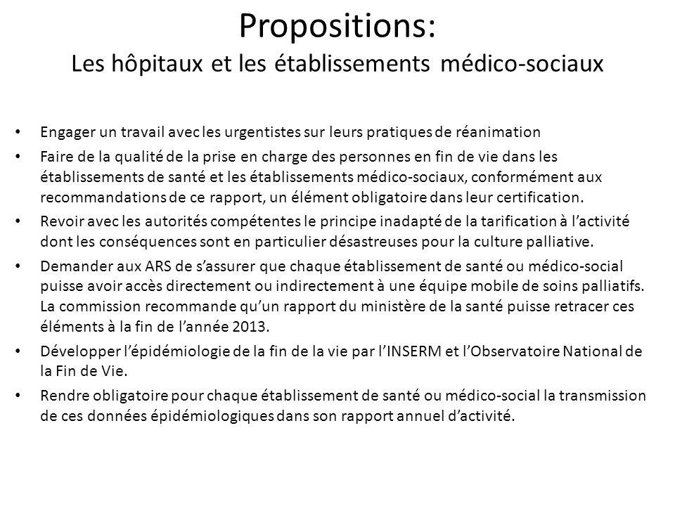 Propositions: Les hôpitaux et les établissements médico-sociaux