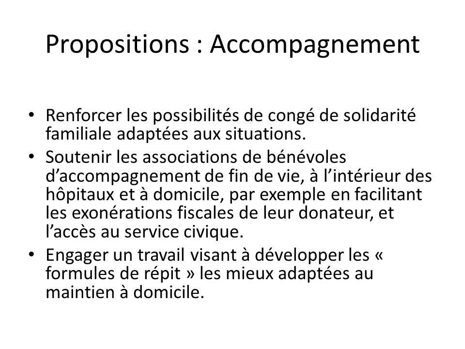 Propositions : Accompagnement