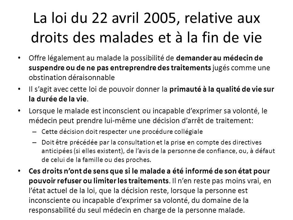 La loi du 22 avril 2005, relative aux droits des malades et à la fin de vie