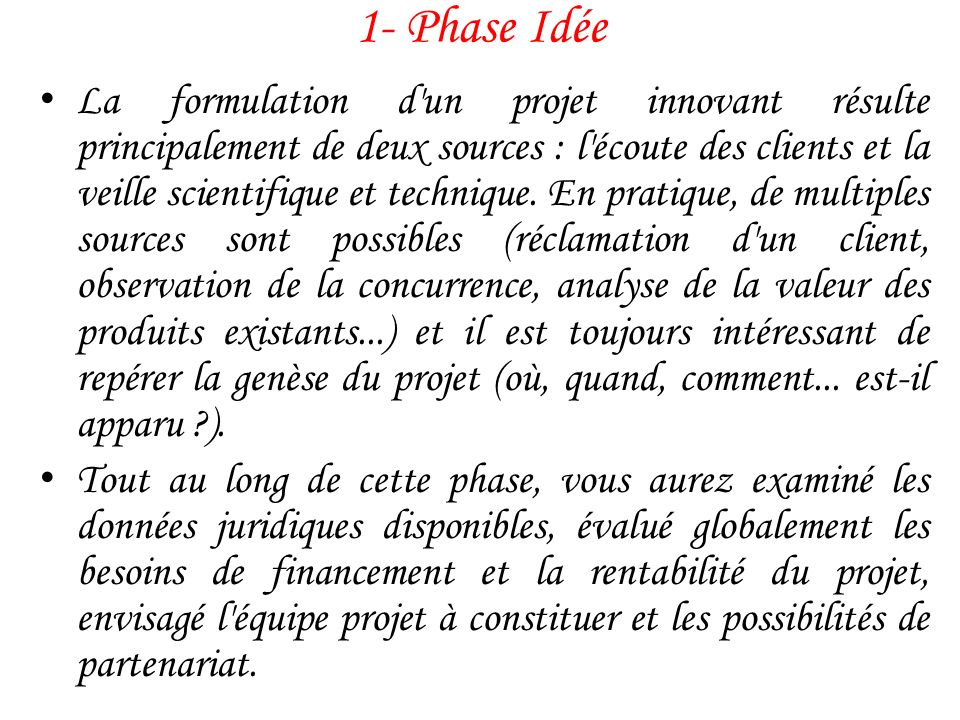 1- Phase Idée