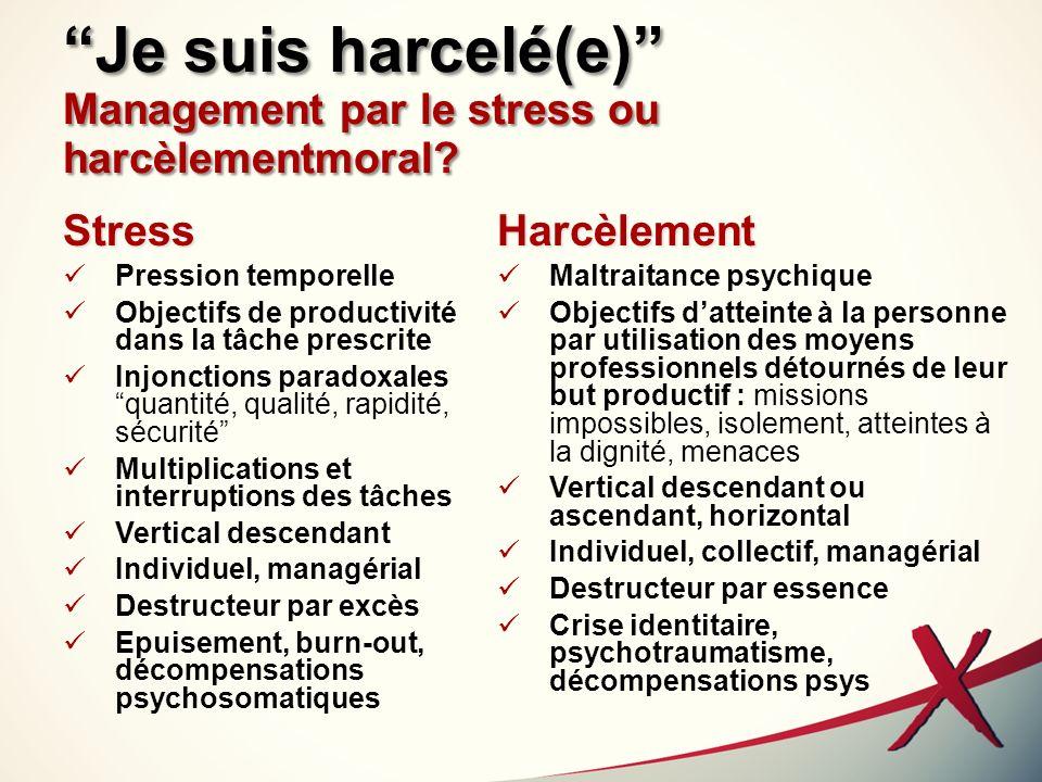 Je suis harcelé(e) Management par le stress ou harcèlementmoral