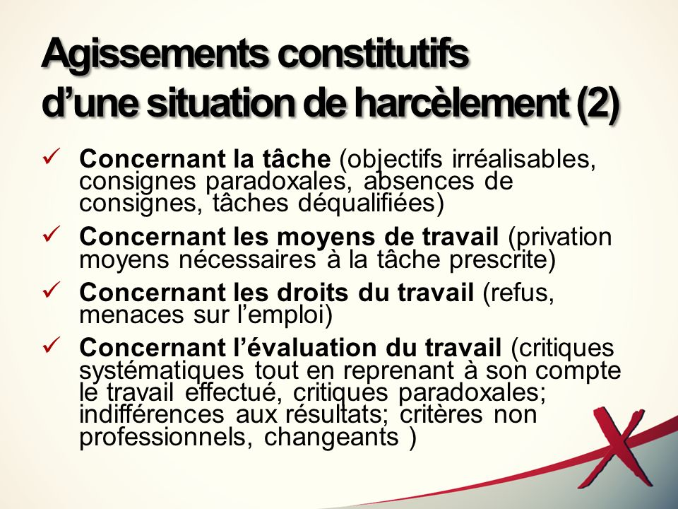 Agissements constitutifs d'une situation de harcèlement (2)
