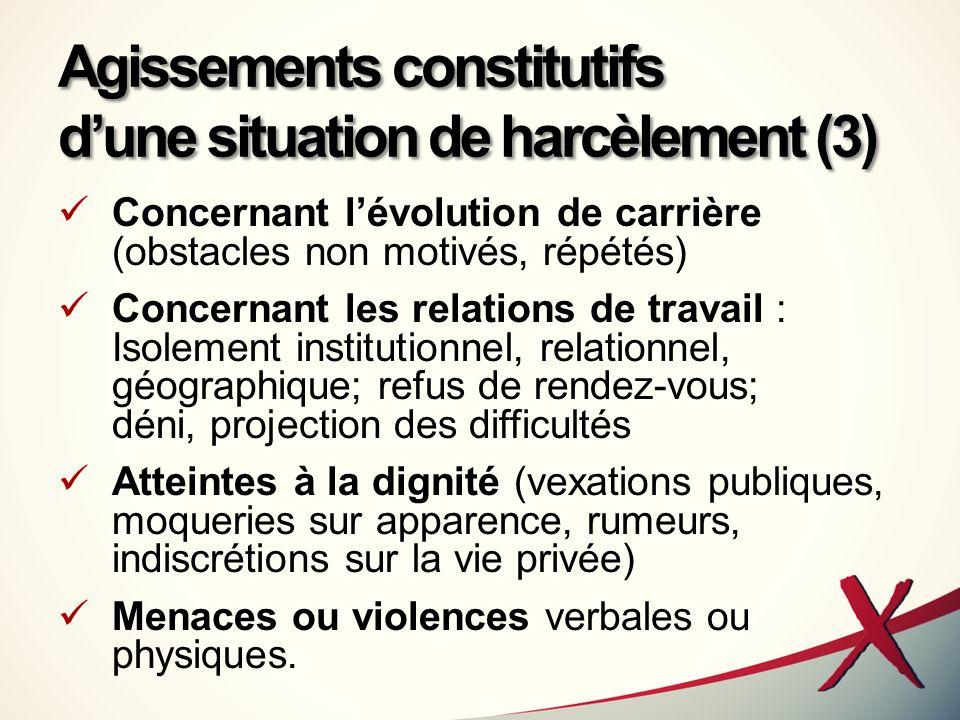 Agissements constitutifs d'une situation de harcèlement (3)