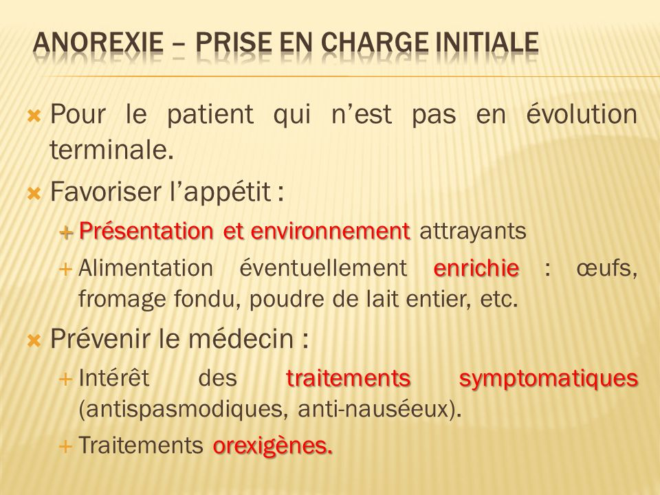 Anorexie – Prise en charge initiale