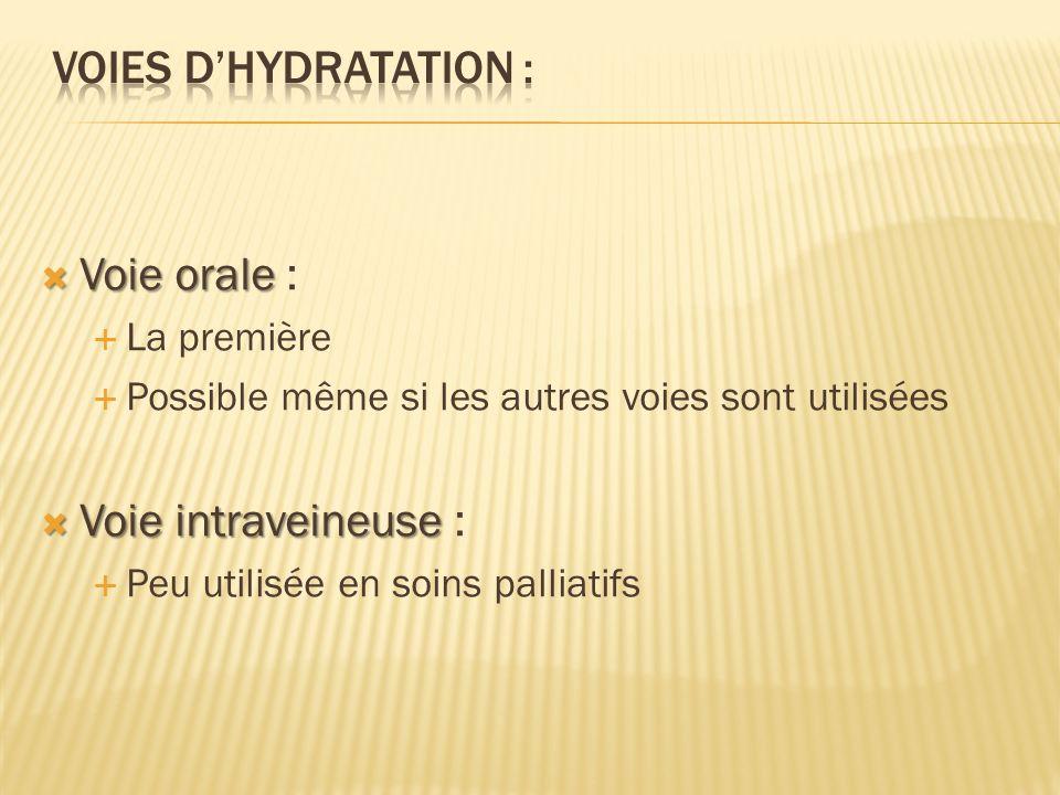 Voies d'Hydratation : Voie orale : Voie intraveineuse : La première