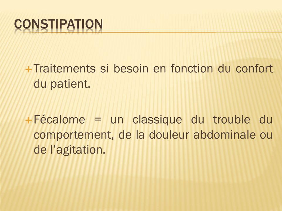 Constipation Traitements si besoin en fonction du confort du patient.
