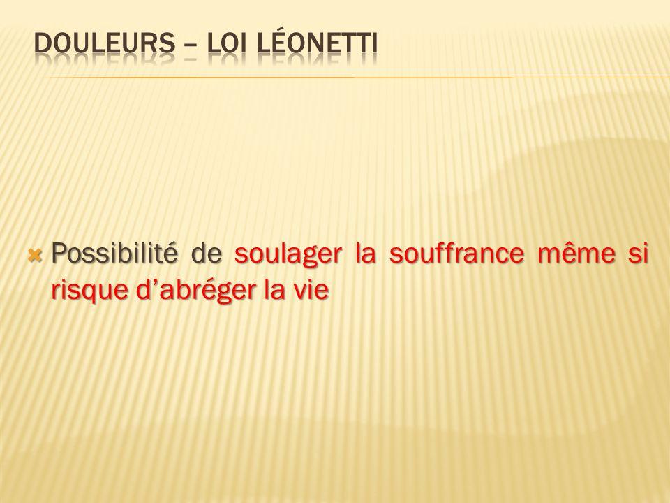 DOULEURS – loi léonetti