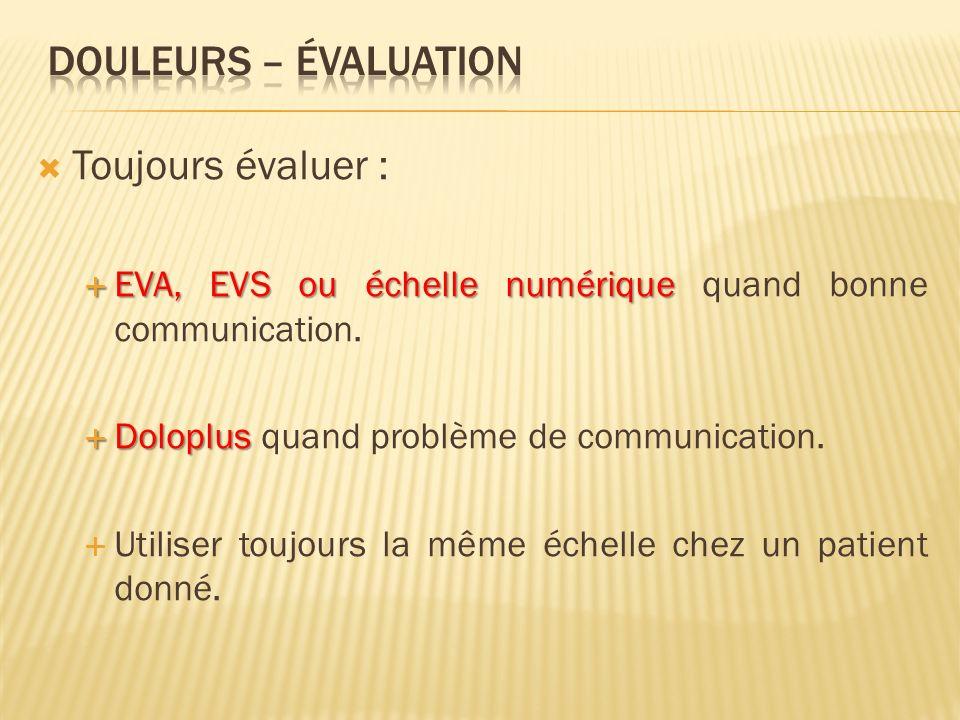 DOULEURS – évaluation Toujours évaluer :