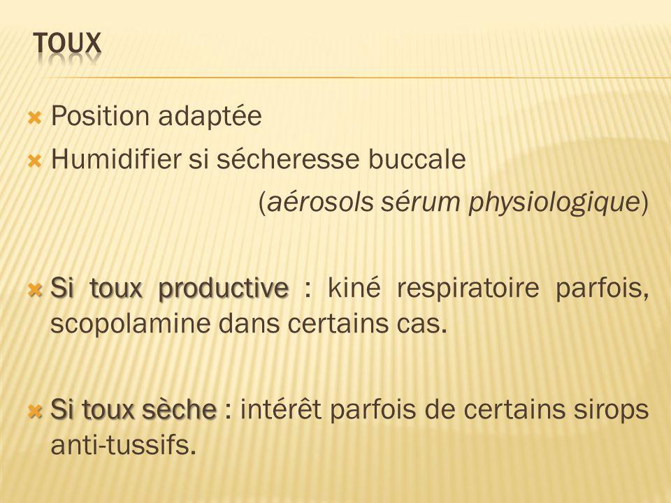 Humidifier si sécheresse buccale (aérosols sérum physiologique)