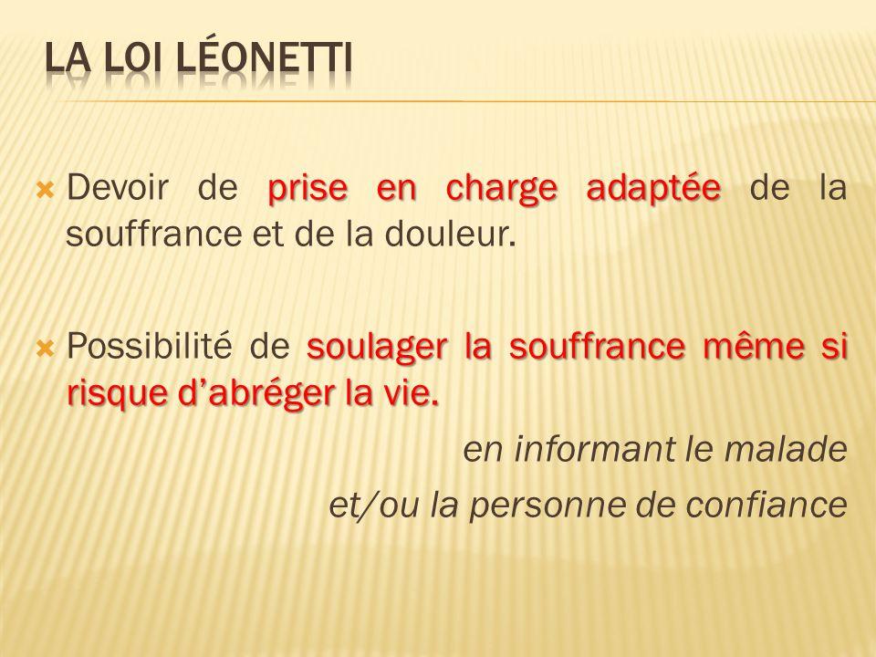 La loi léonetti Devoir de prise en charge adaptée de la souffrance et de la douleur.