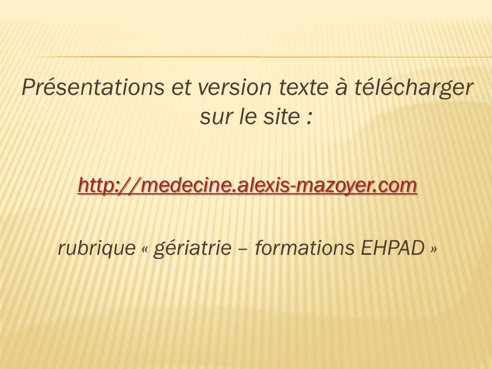 Présentations et version texte à télécharger sur le site :