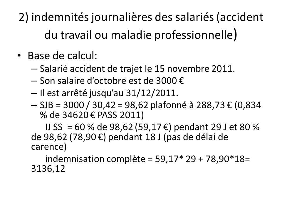2) indemnités journalières des salariés (accident du travail ou maladie professionnelle)