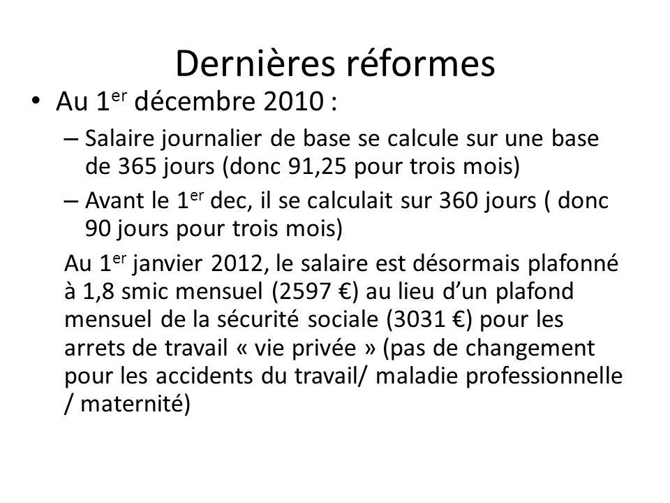 Dernières réformes Au 1er décembre 2010 :