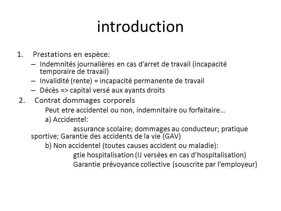 introduction Prestations en espèce: Contrat dommages corporels