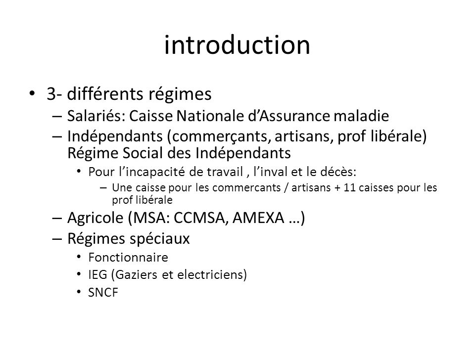 introduction 3- différents régimes